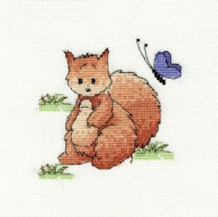 DMC Woodland Folk Cross Stitch Kit - Sally Squirrel (14 Count)
