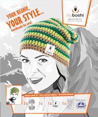 DMC - myboshi Crochet Beanie Hat Kit - Green/Brown