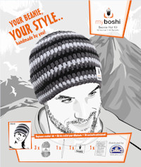 DMC - myboshi Crochet Beanie Hat Kit - Silver/Grey/Black