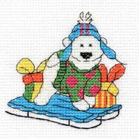 DMC Christmas Characters Cross Stitch Mini Kit - Polar Bear (14 Count)