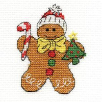 DMC Christmas Characters Cross Stitch Mini Kit - Gingerbread Man (14 Count)