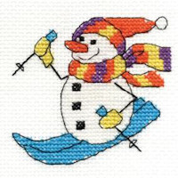 DMC Christmas Characters Cross Stitch Mini Kit - Skiing Snowman (14 Count)