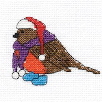 DMC Christmas Characters Cross Stitch Mini Kit - Robin (14 Count)