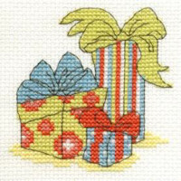DMC Christmas Cross Stitch Mini Kit - Presents (14 Count)