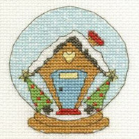 DMC Christmas Cross Stitch Mini Kit - Snow Globe (14 Count)