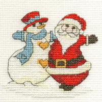 DMC Christmas Cross Stitch Mini Kit - Santa and Snowman (14 Count)