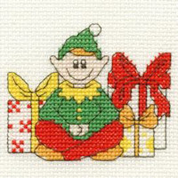DMC Christmas Cross Stitch Mini Kit - Elf with gifts (14 Count)