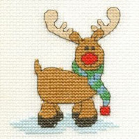 DMC Christmas Cross Stitch Mini Kit - Reindeer (14 Count)
