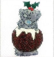 DMC Me to You Tatty Teddy Cross Stitch Mini Kit - I Love Xmas Pud (14 Count)