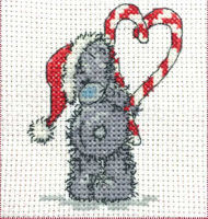 DMC Me to You Tatty Teddy Cross Stitch Mini Kit - Candy Cane (14 Count)