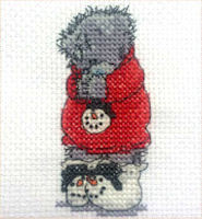 DMC Me to You Tatty Teddy Cross Stitch Mini Kit - Cosy and Warm (14 Count)