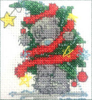 DMC Me to You Tatty Teddy Cross Stitch Mini Kit - Christmas Tree Fun (14 Count)