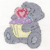 DMC Me to You Tatty Teddy Cross Stitch Mini Kit - Cute Cupcake (14 Count)