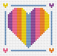 Fat Cat Cross Stitch - Sew Simple - Heart