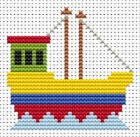 Fat Cat Cross Stitch - Sew Simple - Fishing Boat