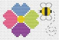 Fat Cat Cross Stitch - Sew Simple - Flower and Bee