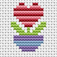 Fat Cat Cross Stitch - Easy Peasy - Flower Heart