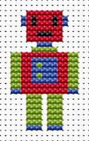 Fat Cat Cross Stitch - Easy Peasy - Robot