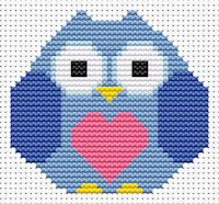 Fat Cat Cross Stitch - Sew Simple - Heart Owl