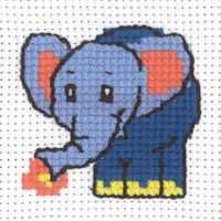 Permin - My First Cross Stitch - Mini Kit - Blue Elephant