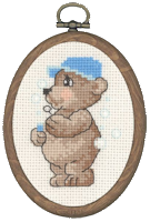 Permin Cross Stitch Kit - Framed Bears - Teddy Blowing Bubbles