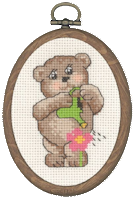 Permin Cross Stitch Kit - Framed Bears - Teddy with Watering Can