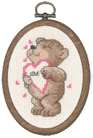 Permin Cross Stitch Kit - Framed Bears - Love Heart Teddy