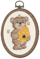 Permin Cross Stitch Kit - Framed Bears - Teddy with Bees