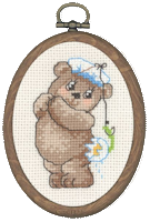 Permin Cross Stitch Kit - Framed Bears - Fishing Teddy