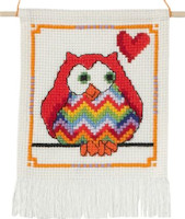 Permin - My First Cross Stitch Kit - Cute Owls - Red Owl