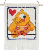 Permin - My First Cross Stitch Kit - Cute Owls - Yellow Owl