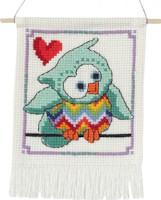 Permin - My First Cross Stitch Kit - Cute Owls - Mint Green Owl