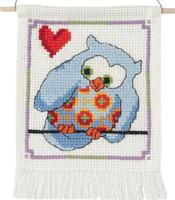 Permin - My First Cross Stitch Kit - Cute Owls - Blue Owl