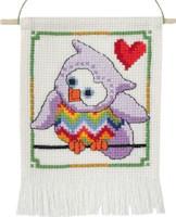 Permin - My First Cross Stitch Kit - Cute Owls - Purple Owl